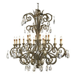 Currey and Company - Majestic Chandelier - A grand creation, this luxurious chandelier is a luminous revelation. Majestic crystals exquisitely sparkle along its wood and iron frame as it floods your interior with dramatic ambience. Brilliantly fill your open space its old-world elegance and behold the transformation.