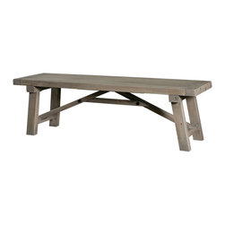 """Four Hands - Dining Bench in Sun-Dried Wheat, 58-Inch - Depending on the length of your dining table, we have two bench lengths available. Dining benches pair well with a rustic table. You can also used a bench in your entry, hallway, den, or anywhere you need extra seating. This one is constructed from solid wood that""""s sanded and finished in sun-dried wheat. The thick pieces of wood make the bench strong but the supports underneath give it super strength."""