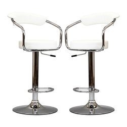 LexMod - Two 50's Diner Bar Stools in White - The 1950's Diner Bar Stool is a great choice for folks who want supreme comfort in a Bar Stool. Thick cushion greet the user like an old friend, and upholstered back rest invites you to lean back and relax. The base and pole's shiny chrome finish, give it a delightful retro feel; have the best of yesterday today..