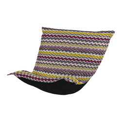Bolt Eggplant Puff Chair Cushion - Extra Puff Cushions in Bolt are a great way to get a fresh new look without the expense of buying a whole new chair! Puff Cushions fit Scroll & Rocker frames. This Bolt cushion is an electric charge of vivid color and zig zag lines.
