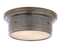 Siena Small Flush-Mount Light - A simple flushmount fixture is the ideal choice for your bedroom or small bathroom. Bronze hardware and white glass pair beautifully and fill your space with soft diffused light. You can't go wrong with this classic lighting piece.