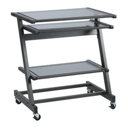 Eurostyle - Z Computer Cart-Graphite Black/Smoked - Do you have a small space? Time to get creative. House all your office equipment on this modern computer cart with roller wheels. The clever cart has multiple adjustable shelves to accommodate your keyboard as well as the printer, scanner or fax machine. Now your office can follow you around.