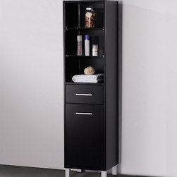 Fresca - Fresca Espresso Bathroom Linen Side Cabinet w/ 3 Open Shelves - This elegant side cabinet comes with an Espresso finish. It features 3 open shelves, 1 pull-out drawer and 1 storage area with soft closing door. The handles are made with stainless steel.
