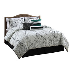 Pem America - New Zealand 7 Piece King Comforter Set - Large leaf like impressions vine across the New Zealand Comforter Set in contrasting greens, blacks, and whites creating an exotic and tropical feel. Includes 3 decorative pillows. King comforter, 2 shams, bed skirt and 3 decorative pillows. 100% microfiber polyester face.  Fill is 95% cotton / 5% other fibers. Machine washable.