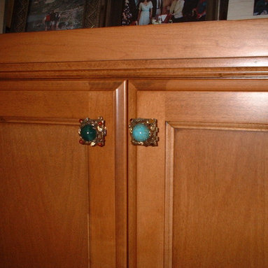 Bungalow Two - Fireplace cabinet door hardware made from heirloom bracelet links
