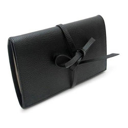 Morelle - Audrey Leather Jewelry Envelope, Black - This classy jewelry envelope is perfect for the frequent traveler. Enclosed with a lovely leather bow it features a zippered compartment for trinkets and accessories, an earring and ring holder and a snap out jewelry pouch great for bracelets and necklaces. Made of our signature embossed grain fine leather and suede trim.