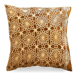 Boheme on Amber Pillow - Decidedly boho but easily adaptable to fit many styles, the amber hue of this delightful accent pillow looks stunning as the backdrop to the floral crochet print that overlays it. Each Aviva Stanoff piece is specially crafted for you upon ordering and takes 8-10 weeks but is absolutely worth the wait.
