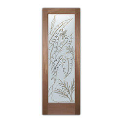 """Interior Glass Doors - Natural Wonders Pinstripe - CUSTOMIZE YOUR INTERIOR GLASS DOOR!  Interior glass doors ship for just $99 to most states, $159 to some East coast regions, custom packed and fully insured with a 1-4 day transit time.  Available any size, as interior door glass insert only or pre-installed in an interior door frame, with 8 wood types available.  ETA will vary 3-8 weeks depending on glass & door type.........Block the view, but brighten the look with a beautiful interior glass door featuring a custom frosted glass design by Sans Soucie!   Select from dozens of sandblast etched obscure glass designs!  Sans Soucie creates their interior glass door designs thru sandblasting the glass in different ways which create not only different levels of privacy, but different levels in price.  Bathroom doors, laundry room doors and glass pantry doors with frosted glass designs by Sans Soucie become the conversation piece of any room.   Choose from the highest quality and largest selection of frosted decorative glass interior doors available anywhere!   The """"same design, done different"""" - with no limit to design, there's something for every decor, regardless of style.  Inside our fun, easy to use online Glass and Door Designer at sanssoucie.com, you'll get instant pricing on everything as YOU customize your door and the glass, just the way YOU want it, to compliment and coordinate with your decor.   When you're all finished designing, you can place your order right there online!  Glass and doors ship worldwide, custom packed in-house, fully insured via UPS Freight.   Glass is sandblast frosted or etched and bathroom door designs are available in 3 effects:   Solid frost, 2D surface etched or 3D carved. Visit our site to learn more!"""