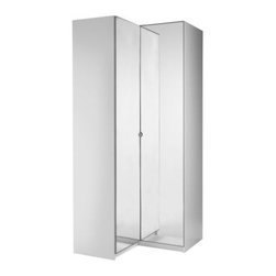 IKEA of Sweden - PAX Corner wardrobe - Corner wardrobe, white, Vikedal mirror glass