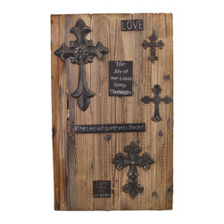 Zeckos - Inspirational Wooden Wall Plaque with Antique Metal Crosses - This wooden wall plaque adds a charming, rustic accent to your home or office. It features metal plaques with inspirational messages and antique crosses on wooden planks. It measures 22 1/2 inches tall, 14 inches wide, 1 inch deep, and easily mounts to the wall by the 2 picture hangers on the back. This piece is sure to be admired, and makes a great gift.