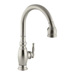 Kohler - Vinnata® Single-hole or Three-hole Kitchen Sink Faucet With Pull-Down          , - •Single lever handle is simple to use and makes adjusting water temperature easy.