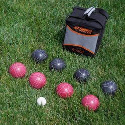 """Triumph Sports USA - Triumph Sports 100mm Bocce Set Multicolor - 35-7103 - Shop for Backyard Games from Hayneedle.com! Take the excitement of bocce ball wherever you go with the Triumph Sports 100mm Bocce Set. This convenient carrying bag holds a 50mm jack and eight 100mm balls 4 balls each for two teams in red and black colors. This is a terrific game for your own backyard the beach or at the local park. About Triumph Sports USATriumph Sports USA recognizes that leisure time regardless of it being spent with friends family or co-workers is most important to the overall quality of life. The company located in Aurora Ill. is dedicated to provide you with quality innovative products that will ensure fun and entertainment for years to come. """"Quality"""" isn't just a buzzword at Triumph Sports USA. All products are constructed of the finest materials and are given close inspection at every level of production. The company employs an exceptional group of experienced professionals who work in teams that are specifically dedicated to each individual consumer. With more than 20 years of experience in recreational products Triumph Sports USA takes pride in all of its items. The company is committed to provide you with innovative products something that hasn't changed from the outset."""