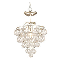 Currey & Company - Currey & Company Astral Pendant CC-9205 - A Wrought iron frame in Contemporary Silver Leaf is the perfect accompaniment to the shimmering blown glass balls that create this chandelier. The glass balls gleam with reflected light making this a magical addition to any setting. Some assembly is required to complete this piece.