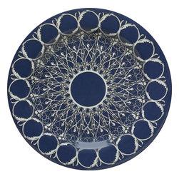 "Bongenre - Navy Blue And White Louis Minuit Dessert Plate 8.625"" Dia. Set Of 4 - Set of four heavy-duty melamine dessert plates, 8.625"" diameter. Dishwashersafe, non-microwavable."