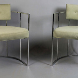 PAIR OF MILO BAUGHMAN FOR THAYER COGGIN BARREL BACK CHAIRS - The Potomack Company