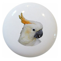 Carolina Hardware and Decor, LLC - Cockatoo Parrot Ceramic Knob - New 1 1/2 inch ceramic cabinet, drawer, or furniture knob with mounting hardware included. Also works great in a bathroom or on bi-fold closet doors (may require longer screws).  Item can be wiped clean with a soft damp cloth.  Great addition and nice finishing touch to any room.