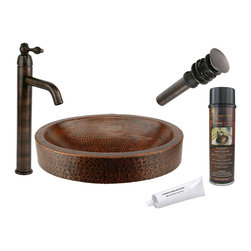 Premier Copper Products - Compact Oval Skirted Vessel Sink w/ORB Faucet - PACKAGE INCLUDES: