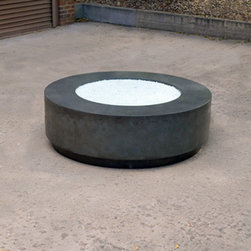 Floating concrete firepit with steel base - concretepete 2013