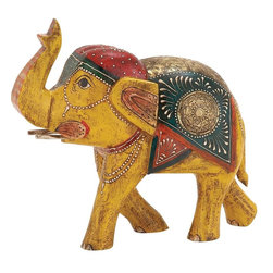 """Benzara - Attractive and Ethnic Wood Metal Painted Elephant - Love to deck up and collect pretty ethnic home decors? Then this lovely painted elephant is just what you are looking for. Made from wood and metal, this home decor object is an exemplary work of true craftsmanship. The elephant features beautiful painted work in multi shades with painted accessories and ornaments. You can place it on your desk, table or night stand. It is sure to add an ethnic feel and aura to your modern home. Guests and visitors will be in awe at the sight of this unique artwork.This elephant decor is very easy to clean and very durable. Designed to suit all types of interiors and surroundings, this home decor can be wrapped and presented to your family or friends and they will cherish this thoughtful present. So why wait, get one now and feel the difference. This elephant painted decor measures 13 inch (W) x 6 inch (D) x 11 inch (H); Made from wood and metal; Ethnic painting and print; Dimensions: 14""""L x 7""""W x 12""""H"""