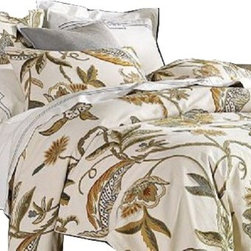 Crewel Fabric World - Crewel Duvet Cover Atherton Cotton Duck, King - Inspiration: Inspired by the Shalimar Gardens, an elaborate park created for a 17th-century Indian empress, the Atherton Crewel Duvet Cover & Shams depict lush trailing vines in the softest tones of sage, blue, gray and gold. Artisans stitch the engineered designs by hand using pure-wool yarns on weighty ivory cotton duck. The detailed process makes each piece subtly unique. Backed and piped in matching cotton with natural shell buttons on the duvet and envelope-closure shams.
