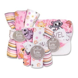 Trend Lab Lola Fox Bath & Burp Bouquet Set - The Trend Lab Lola Fox Bath & Burp Bouquet Set is the perfect gift for any mom to be! This set includes a white terry hooded towel with printed cotton twill throughout the hood and trim as well as along with five wash cloths, and four burp cloths, each with a fun, modern printed cotton on the front and terry on the back. The hood and trim of this towel features a Lola Fox baby woodland animal scatter print throughout the hood and trim in violet, cantaloupe, slate, caramel and buttercup yellow on a bubblegum and hot pink tonal leaf background. The washcloths also features patterns and colors that coordinate with the rest of the Lola Fox collection by Trend Lab.About Trend LabBegun in 2001 in Minnesota, Trend Lab is a privately held company proudly owned by women. Rapid growth in the past five years has put Trend Lab products on the shelves of major retailers, and the company continues to develop thoroughly tested, high-quality baby and children's bedding, decor, and other items. With mature professionals at the helm of this business, Trend Lab continues to inspire and provide its customers with stylish products for little ones. From bedding to cribs and everything in between, Trend Lab is the right choice for your children.