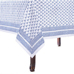 "Frontgate - Ahoy Tablecloth - 55"" Square - Frontgate - Constructed of 100% cotton. Some imperfections in printing and variations in color exist because of the unique printing process. Machine wash cold, tumble dry low. Warm iron as needed. Anchor your table settings with our charming Ahoy Table Linens. The adorable anchor pattern is block-printed by hand on the cotton tablecloth using deep, natural dyestuffs. Infuse a touch of summer and nautical style when entertaining guests.. . . . Imported."