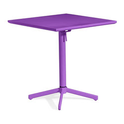 Zuo Modern - Square Table in Purple - Durable and fits for all climate. Folds up for ease of storage. Warranty: One year limited. Made from epoxy coated steel. Assembly required. 27.6 in. W x 27.6 in. D x 29.5 in. H (35 lbs.)Add color to any outdoor space with the Big Wave folding table.