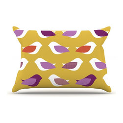"Kess InHouse - Pellerina Design ""Golden Orchid Birds"" Yellow Purple Pillow Case, Standard (30"" - This pillowcase, is just as bunny soft as the Kess InHouse duvet. It's made of microfiber velvety fleece. This machine washable fleece pillow case is the perfect accent to any duvet. Be your Bed's Curator."