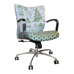 9 to 5 Seating - Chinoiserie Pagoda Desk Chair - -Chinoiserie Pagada Fabric with Contasting Seat