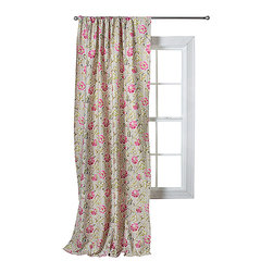Trend Lab - Waverly Jazzberry Window Drape - The Waverly Jazzberry Window Drape measures 42 in x 84 in and features Waverlys refreshing floral print in shades of marshmallow white carmine and cerise pink moss green Abbey stone and dune sand with cerise pink.
