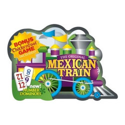 Puremco MEXICAN TRAIN Dominoes D12 Tin - The Puremco MEXICAN TRAIN Dominoes D12 Tin is a more colorful, easier to identify set of dominoes than anything else you're gonna find. Why use dots when you can instantly read the numbers on this colorful, premier collection. Not only can you play the fast and exciting game of Mexican Train but you can use the handy rule book included with your purchase to play Chickenfoot and up to 6 other popular games. The collectible train-shaped tin comes with 91 professional sized dominoes, score pad, an electric dual-sound centerpiece with both train and rooster sound effects, and 9 train markers. Choo-choo-choose the Puremco MEXICAN TRAIN Dominoes D12 Tin and you and your family are in for a ride to remember.