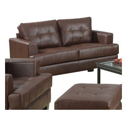 "Coaster - Love Seat (Dark Brown) By Coaster - The Samuel collection offers style and comfort with its clean lines and attached seat cushions. The only way to truly appreciate this collection is to sit and experience it. Outside constructed of bonded leather. Dims: 67.50"" X 68"" X 36"". Matching pieces available separately."