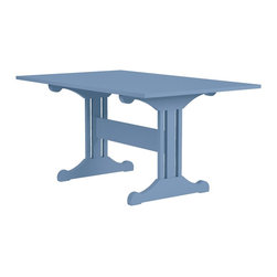 Inga Trestle Dining Table - Our Inga Trestle Table provides a welcomed opportunity to linger just a bit longer. Elegance, form and function. The perfect breakfast table, it fits smartly in an underutilized corner for booth seating! Seats 4 people comfortably and up to 6 if you're in a pinch. Available in one of 50 Maine Cottage® colors.