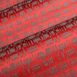 Hatch Mark Upholstery in Redwood - Hatch Mark Upholstery in Redwood.  A Mid Century modern patterned red upholstery fabric wool blend with cotton.  Ideal for sofa, chairs or pillows.  Interior Designers looking for that retro modern look have found it here with this well priced upholstery fabric.  Also available in Forest Green.