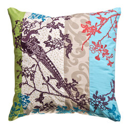 KOKO - Wallpaper Pillow, Peacock - What an eclectic statement this would make on a bed. The embroidered peacock looks so stately sitting on that branch, and all the flowers give it a pretty and romantic feel that would add a soft touch to any room.