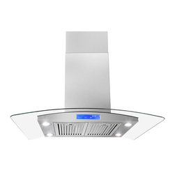 "AKDY - AKDY AK-Z668I-CS3-B Euro Stainless Steel Island Mount Range Hood, 30"" - This AKDY 30"" stainless steel range hood will add a touch of contemporary European styling to your kitchen while removing unwanted odors, smoke, moisture, and other contaminants. This range hood is designed to meet the requirements of todays highly styled, conventional appliances and kitchens with features such as a 870 CFM centrifugal blower, touch sensitive electronic controls and delayed auto power shutoff."