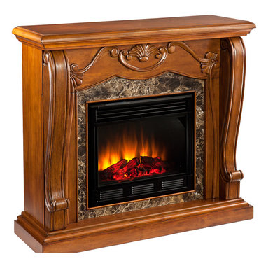Holly & Martin - Taylor Fireplace, Walnut, Electric - A beautiful walnut finish, Victorian-esque design, and faux marble combine to create this timeless design; add the beauty and romance of a glowing fire and you have a versatile electric fireplace that will complement any room in your home. To top it off, this fireplace requires no electrician or contractor for installation, allowing for instant remodeling without the usual mess or expenses.