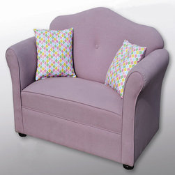 Sole Designs - Chantel Kid's Sofa - Features: -Set includes sofa and 2 pillows. -Upholstery: Purple 100% cotton fabric. -Finish: Wood. -Frame construction: Hardwood. -Fire retardant foam. -Wipe clean. -Made in the USA.