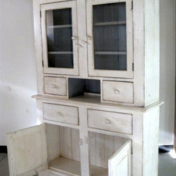 White Custom Country Hutch With 2 Glass Doors - Made by http://www.ecustomfinishes.com
