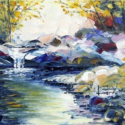 """Secret River"" (Original) By Lisa Elley - Original Art Palette Knife Paintings In Oil By Lisa Elley. Landscapes, Portraits, People, Cities, Trees, Buildings, Beaches, Nature, Flowers, Mountains And More, With Thick Texture, Bright Modern Colors And Incredible Impact."