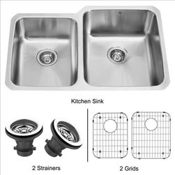 Vigo - VIGO VG3221RK1 Sink 2 Grids and 2 Strainers - Fully undercoated and padded with unique multi layer sound eliminating technology, which also prevents condensation