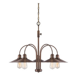 Designers Fountain - Designers Fountain Newbury Station Chandelier with Metal Shade, Old Satin Brass - Designers Fountain Newbury Station Chandelier with Metal Shade, Old Satin Brass X-BSO-58458