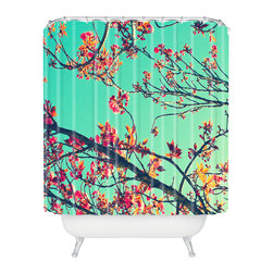 DENY Designs - Shannon Clark Summer Bloom Shower Curtain - A real spring awakening, these branches burst against the blue sky to wake up your morning routine. Each shower curtain is custom printed on woven polyester and is machine washable for that fresh-as-spring feeling any time.