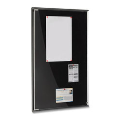 "Iceberg - Iceberg Enclosed Tack Board, 36""x24"", Black Surface, Polyethylen - Enclosed Tackboard lets you display and protect information in functional style. Lightweight blow molded, high-density polyethylene body is extremely durable. Clear, locking polycarbonate door with radius edge is more scratch-resistant and stiffer than acrylic panels. Self-healing tack surface holds pushpins tightly. Enclosed tackboard is easy to hang with included hardware. Can be mounted individually or in succession to create larger, multi-door configurations."