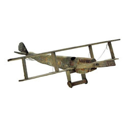 Vintage Handmade Plane Model - Vintage, handmade airplane with metal and wood body. Detailed with paint and age! We'd love to see this plane used in a little boy's room or nursery! Suspend it from the ceiling as shown, or place it in the corner of the room as a fantastic sculptural object.