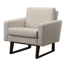 Coaster - Coaster Club Chair with Exposed Wood in Beige - Coaster - Club Chairs - 900176 - Bring a clean and stylish look into your home with help from this accent chair. The piece carries either a brown, gray or beige linen textured fabric and features track arms, which help add to the modern appearance. Plus, the removable back and seat cushion provide more usage. There will be lots to like with this accent chair in your home.