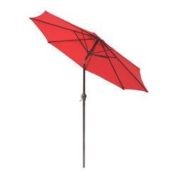 International Concepts - 9 ft. Market Umbrella w Steel Pole - 38 mm. Steel pole with crank. 8 Pcs. 12 mm. x 18 mm. steel ribs. Adjustable tilt function. Powder coating. Air vent on top. 180G Polyester fabric. 104 in. L x 104 in. W x 93.75 in. H (13.9 lbs.)