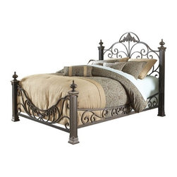 "FBG - Baroque Metal Bed - Features: -Powder Coated Finish: Yes.-Gloss Finish: No.-Finish: Gilded Slate.-Frame Material: Metal.-Solid Wood Construction: No.-Upholstered: No.-Number of Items Included: 1 Headboard, 1 Footboard, 4 Posts, Side Rails, Slats.-Hardware Material: Metal.-Non Toxic: Yes.-Scratch Resistant: No.-Mattress Included: No.-Box Spring Required: Yes -Boxspring Included: No..-Headboard Storage: No.-Footboard Storage: No.-Underbed Storage: No.-Slats Required: No.-Center Support Legs: Yes.-Adjustable Headboard Height: No.-Adjustable Footboard Height: No.-Wingback: No.-Trundle Bed Included: No.-Attached Nightstand: No.-Cable Management: No.-Built in Outlets: No.-Lighted Headboard: No.-Finished Back: Yes.-Reclaimed Wood: No.-Number of Center Support Legs (Size: King): 6.-Number of Center Support Legs (Size: Queen): 6.-Distressed: No.-Bed Rails Included: No.-Collection: Baroque.-Eco-Friendly: No.-Recycled Content: No.-Wood Moldings: No.-Canopy Frame: No.-Hidden Storage: No.-Jewelry Compartment: No.-Weight Capacity: 600 lbs.-Swatch Available: No.-Commercial Use: No.-Product Care: Wipe with a clean, damp cloth.Specifications: -FSC Certified: No.-EPP Compliant: No.-CPSIA or CPSC Compliant: No.-CARB Compliant: No.-JPMA Certified: No.-ASTM Certified: No.-ISTA 3A Certified: No.-PEFC Certified: No.-General Conformity Certificate: No.-Green Guard Certified: No.Dimensions: -Overall Height - Top to Bottom (Size: King): 66"".-Overall Height - Top to Bottom (Size: Queen): 66"".-Overall Width - Side to Side (Size: King): 82.5"".-Overall Width - Side to Side (Size: Queen): 66.5"".-Overall Depth - Front to Back (Size: King): 90.75"".-Overall Depth - Front to Back (Size: Queen): 90.75"".-Overall Product Weight (Size: King): 186 lbs.-Overall Product Weight (Size: Queen): 178 lbs.-Headboard Dimensions Height (Size: King): 66"".-Headboard Dimensions Height (Size: Queen): 66"".-Headboard Width Side to Side (Size: King): 82.5"".-Headboard Width Side to Side (Size: Queen): 66.5"".-Headboard Depth Front to Back (Size: King): 3"".-Headboard Depth Front to Back (Size: Queen): 3"".-Footboard Height (Size: King): 36"".-Footboard Height (Size: Queen): 36"".-Footboard Width - Side to Side (Size: King): 82.5"".-Footboard Width - Side to Side (Size: Queen): 66.5"".-Footboard Depth - Front to Back (Size: King): 3"".-Footboard Depth - Front to Back (Size: Queen): 3"".-Top of Headboard to Bedframe: 44"".-Bottom of Side Rail to Floor: 11"".-Side Rail Length: 83"".-Base of Headboard to Floor: 27"".Assembly: -Assembly Required: Yes.-Tools Needed: Screwdriver.-Additional Parts Required: No.Warranty: -Product Warranty: 10 Year Manufacturer Warranty."