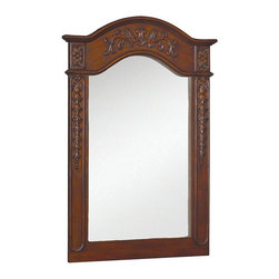 World Imports - Belle Foret 36in. x 24in. Framed Carved Portrait Mirror, Dark Cherry - Single, vanity mirror