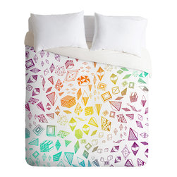 DENY Designs - Iveta Abolina Colorful Crystals Duvet Cover - Turn your basic, boring down comforter into the super stylish focal point of your bedroom. Our Luxe Duvet is made from a heavy-weight luxurious woven polyester with a 50% cotton/50% polyester cream bottom. It also includes a hidden zipper with interior corner ties to secure your comforter. It's comfy, fade-resistant, and custom printed for each and every customer.